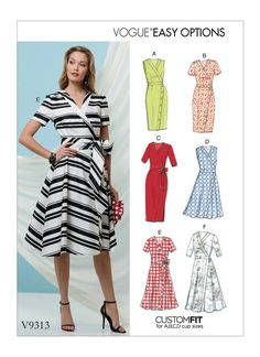 V9313 Close-fitting wrap dresses have hook and bar closures and length and sleeve variations. Bands and sash are cut on the bias. A, B, C: Button front, straight skirt. D, E, F: Full skirt. Note: Separate pattern pieces are included for cup sizes A, B, C, D. Summer 2018