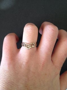 Vintage 9ct Yellow Gold Filigree Ring by GuiltyRidesRockHorse on Etsy