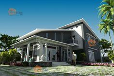 Thiết kế kiến trúc nhà vườn tối giản tại Thái Bình phối cảnh 02