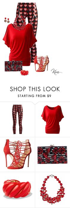 """""""Red"""" by ksims-1 ❤ liked on Polyvore featuring Fendi, Dsquared2, Charlotte Olympia, David Yurman, Plumeria Exclusive London and Humble Chic"""