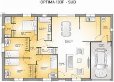 Plan maison neuve à construire - Maisons France Confort Optima 103 F