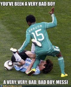 Soccer meme: Bad boy Messi