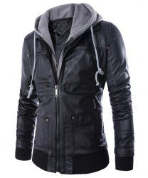 Faux Twinset Rib Splicing Hooded Long Sleeve Slimming Modish PU Leather  Jacket For Men (BLACK e345f33554bbd