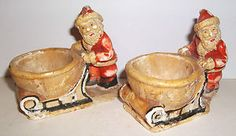VINTAGE FATHER CHRISTMAS / SANTA EGG CUPS 1930'S  (hee hee ... I just had to pin these!! So sweet!) #holidaycooking