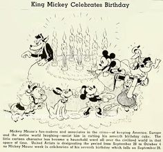 Publicity material for Mickey Mouse's birthday featuring the Big Bad Wolf, The Three Little Pigs, Pluto, Minnie Mouse, Mickey Mouse, Donald Duck