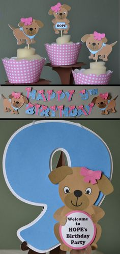 Puppy Party Package - Party Decorations - Banner, Cupcake Toppers, Cake Topper