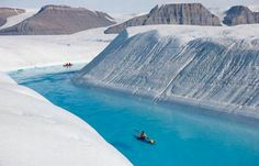 Greenland's melting ice flow.