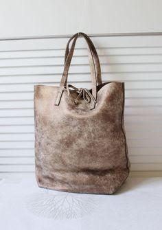 Washed Cowhide Soft Shrunk Leather Bag Vintage Bronze by BagDoRi, $99.90