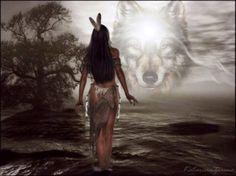 Listening to Her Guiding Spirit - Spirit, Native, Maiden, Guide, Wolf Spirit, Spirit Native, Native Wolf