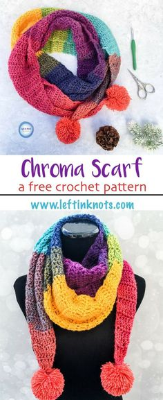 Scarf Crochet A FREE one skein crochet pattern! The Chroma Scarf has unique and modern shape and I LOVE how simple and quick this one is to work up. It takes just one cake of Lion Brand Mandala yarn and will be perfect for gifting around the holidays! One Skein Crochet, Crochet Scarf Easy, Crochet Scarves, Crochet Shawl, Free Crochet, Crochet Vests, Knitting Scarves, Crochet Edgings, Knitted Shawls