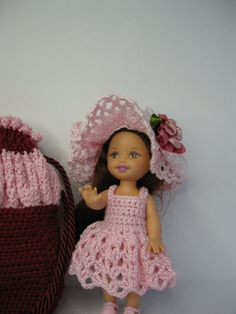 Barbie Kelly doll crochet dress and cradle purse by ToneyTreasures