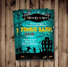 zombie invitation halloween costume party invite costume zombie apocalypes birthday adult kids scary invites printable halloween - Zombie Halloween Invitations