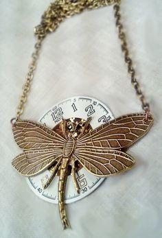 Steampunk Dragonfly Necklace by *SteamDesigns on deviantART