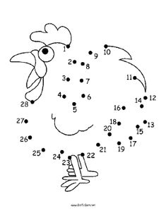 The alert cartoon rooster in this printable dot to dot puzzle has a big red comb… Preschool Worksheets, Preschool Activities, Rooster Craft, Cartoon Rooster, Dot To Dot Puzzles, Dot To Dot Printables, Easter Bunny Colouring, Chicken Drawing, Carnival Of The Animals