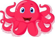 Illustration about Illustration of Cute octopus cartoon. Illustration of pink, ocean, aquarium - 39821694 Cartoon N, Cartoon Drawings, Cute Octopus, Banner Printing, En Stock, Free Illustrations, Sewing For Kids, Fantasy Creatures, Vector Art