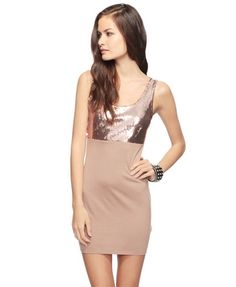 Sequined Bodice Dress (Taupe). Forever 21. $13.50