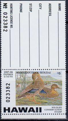 Hawaii Wildlife Conservation Stamp 1997-98.