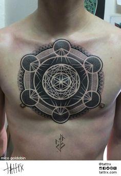 Mico Goldobin Tattoo | Tartu, Estonia - Metatron's Cube Chestpiece