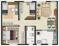 planta de casa com 2 dormitorios suites e cozinha americana - Pesquisa Google