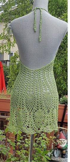 Crochet beach dress Open back