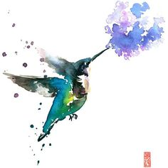 Hummingbird and Lilac Watercolor Painting Fine Art Giclee Print Bird... (28 CAD) ❤ liked on Polyvore featuring home, home decor, wall art, water color painting, blossom wall art, watercolor bird paintings, watercolour flower paintings and watercolor wall art
