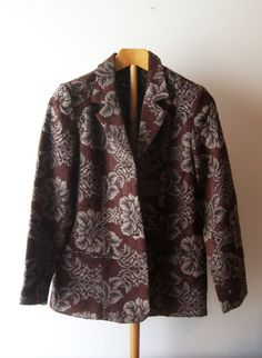 Small jacquard Jacket floral  / Denim & CO / Brown Gray / EUC #Denimco #Blazerjacket #jacquard #floral #jacquardjacket #freeshipping