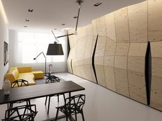 Modern Apartment with Transforming Sculptural Wall – Transformer Apartment - The Great Inspiration for Your Building Design - Home, Building, Furniture and Interior Design Ideas Apartment Walls, Apartment Interior, Apartment Design, Apartment Therapy, Küchen Design, Wall Design, House Design, Design Ideas, Divider Design