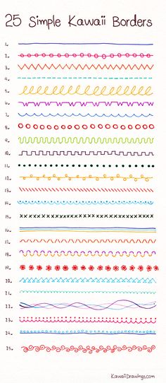 How to draw 25 Simple Kawaii Borders with ballpoint and felt tip pens, these are…