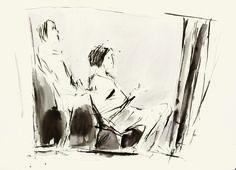 """ARNALDO CIARROCCHI, """"Dal parrucchiere"""" 2001,  tecnica mista su carta,  cm 35x50"""