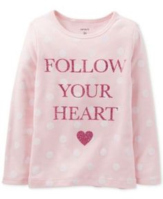 NEW CARTERS TODDLER GIRLS GRAPHIC TEE FOLLOW YOUR HEART PINK SIZE 2T #CARTERS #DressyEveryday
