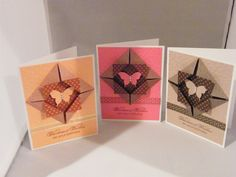 Fun and easy!   Shadow Box Butterfly Cards in 3 colors! Uses Stampin Up!  DSP and Elegant Butterfly punch.