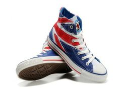 Converse UK Flag High Top Blue Canvas White Red Flag Shoes $44.99