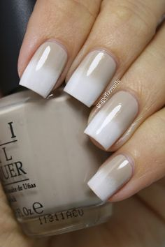 Nude polish with a white gradient..always a favorite of mine