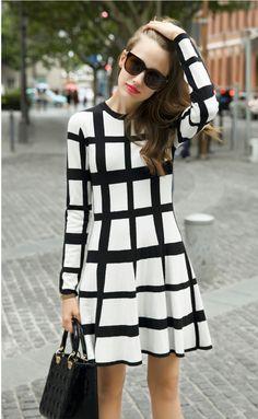 Short Dresses – Long sleeve plaid short dress – a unique product by focalme on DaWanda