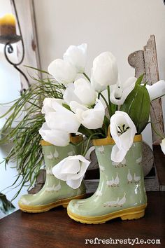 Rain Boots and Tulips
