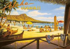 Pacifica Island Art x Vintage Hawaiian Tin Sign - Aloha Hawaii by Kerne Erickson Hawaii Vintage, Vintage Hawaiian, Aloha Vintage, Vintage Surfing, Mahalo Hawaii, Hawaii Surf, Pergola, Pin Up, Hawaiian Art