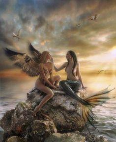 z- Fairy & Mermaid Sitting on Ocean Rock