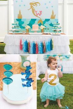 A Mermaid Birthday Party with an aqua tablescape, DIY backdrops, teepee, under the sea desserts, fondant mermaid cake topper + tutu & starfish party favors 2nd Birthday Parties, Girl Birthday, Birthday Ideas, Party Poppers, Little Mermaid Birthday, Mermaid Parties, Under The Sea Party, Party Themes, Party Ideas