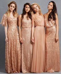 Copper coloured bridesmaid dresses - great for an Autumn or Topaz wedding