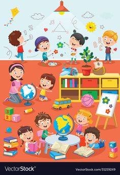 Little Children Studying Playing Preschool Classroom Stock Vector (Royalty Free) 1572618043