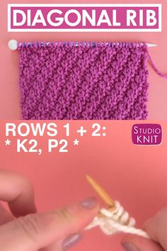 Diagonal Rib Stitch Knitting Pattern : This Repeat Knit Stitch Pattern would be perfect to knit up a pillow or an elegant scarf. The Diagonal Rib Stitch Pattern is a great way to create the depth of ribbing while allowing your piece to easily lie flat. Rib Stitch Knitting, Knitting Stiches, Knitting Videos, Easy Knitting, Knitting For Beginners, Loom Knitting, Rib Knit, Bind Off Knitting, Start Knitting