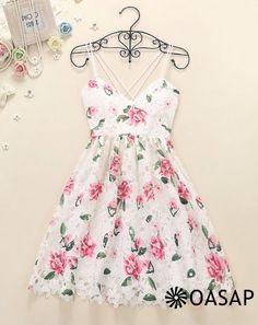 Goddess Floral Backless Pleated Slip Dress m.OASAP.com
