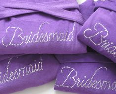 Bridesmaid Gift, Personalized Gift for Bride, Maid of Honor, Flower Girl Dress, Bridal Gown, Purple Wedding Favors, Custom Robe. $200.00, via Etsy.