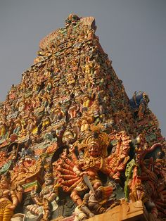 Meenakshi Sundareswarar Temple or Meenakshi Amman Temple or Tiru-alavai[1][2] (IAST mīnākṣi Amman Kovil) is a historic Hindu temple located in the south side of river Vaigai[3] in the temple city[4] of Madurai, Tamil Nadu, India. It is dedicated to Parvati who is known as Meenakshi and her consort, Shiva, named here as Sundareswarar (beautiful deity). The temple forms the heart and lifeline of the 2500 year old city of Madurai