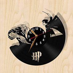 Harry Potter vs Voldemort Battle Wall Clock 12 inch (30cm) / Laser cut from Vintage Vinyl Record Clock (Black clockface, Arabic digits) VinylImage