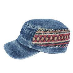 Denim-Visor-Cap-Military-Army-Cadet-Hat-Canvas-Baseball-Sun-Vintage-Knitting-PSL