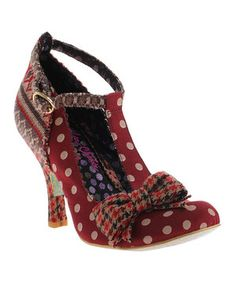 Love this Red Houndstooth & Polka Dot Bloxy T-Strap Pump by Irregular Choice on #zulily! #zulilyfinds