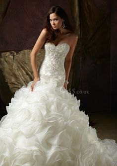 Organza Fit N Flare Floor Length With Ruffles Sweetheart Glamorous Wedding Dresses