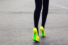 Neon is one of the hottest spring trends. We picked out the best hair, makeup, nails, and fashion accessories all celebrating this neon trend. Yellow Dress Shoes, Neon Yellow Dresses, Yellow Heels, Green Shoes, Crazy Shoes, Me Too Shoes, Bright Heels, Colorful Heels, Neon Pumps