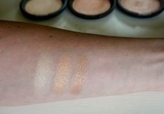 Becca Highlighter comparisons. Left to right: Moonstone, Champagne Pop (Jaclyn Hill), Opal!